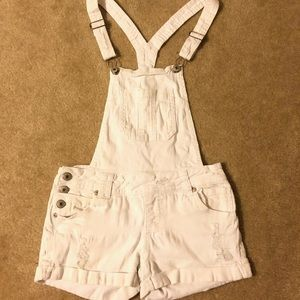 White Ripped Jean Overall Shorts